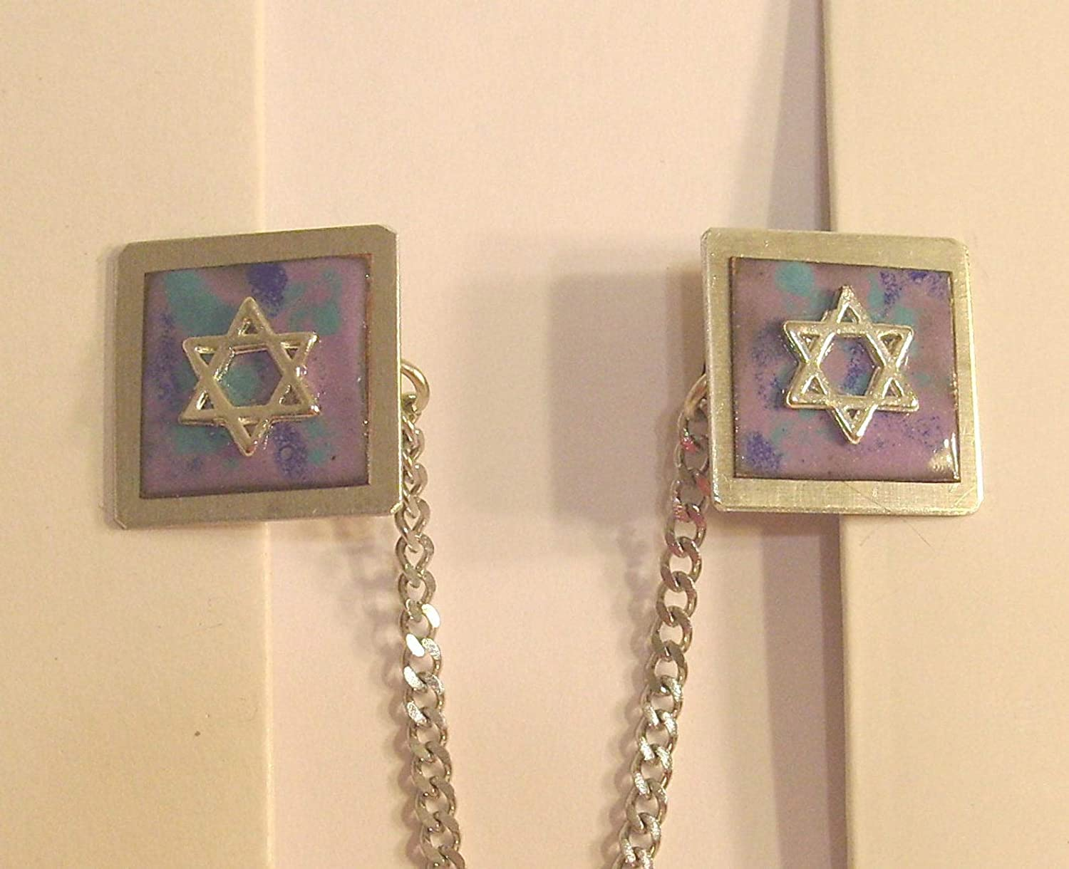 Tallit Clips Chicago Mall - Star of David Blue on Max 69% OFF Lavender Ename AquaCopper