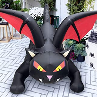 Outdoor Halloween Decorations Inflatables Yard Blow Up Decor Lawn Light Up Dragon Cat with Crimson Cape LED Light Up 6 fee...