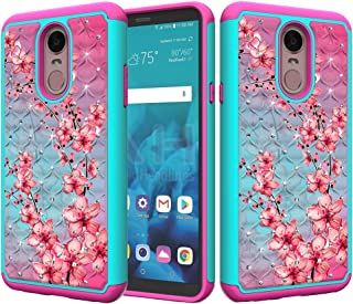 ZASE Design Case for LG STYLO 4, LG Stylo 4 Plus Case Hybrid Dual Layer Protection [Jewel Rhinestone] Shockproof Slim Hard Shell Sparkly Crystal [Bling Diamond] Cover (Teal Pink Blossom)