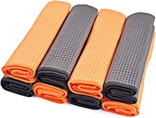 OTUAYAUTO 8Pcs Large Waffle Weave Matter Microfiber Drying Towel - Car Cleaning Detailing Cloth, Kitchen Towels, 14.8×16Inch
