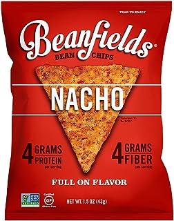 Beanfields Bean Chips, High Protein and Fiber, Gluten Free, Vegan Snack, Nacho, 1.5 Ounce (Pack of 24)