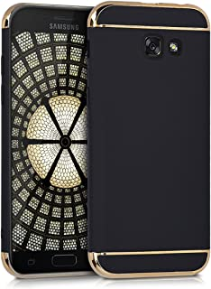 kwmobile Case for Samsung Galaxy A5 (2017) - Shockproof Protective Hard Case Back Cover with Chrome Frame - Black/Gold