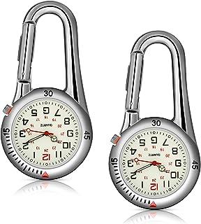 Hicarer 2 Piece Clip-on Quartz Watch Backpack Fob Belt Watch Glow in the Dark Unisex Pocket Watch with Dial White برای پزشکان پرستاران در فضای باز