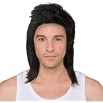 Acecharming Black Mullet wigs,70s 80s Rocking Dube Wig Punk Rocker Disco Mullet Wig