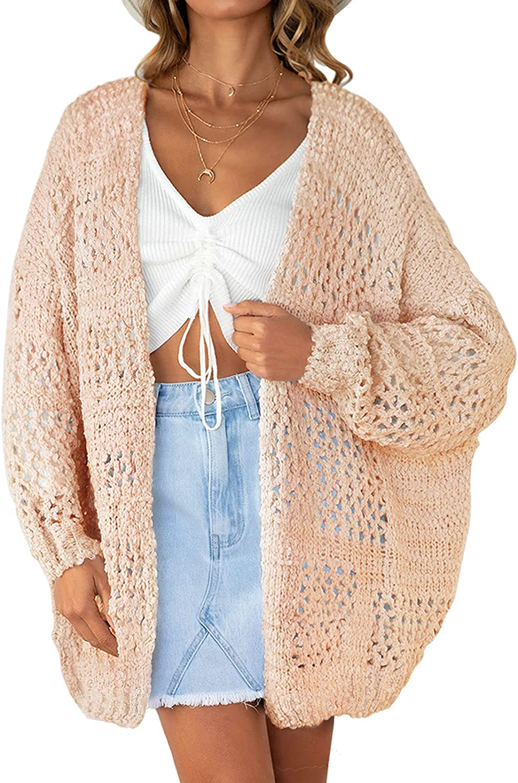 ZESICA Women's Long Batwing Sleeve Open Front Crochet Hollow Out Lightweight Oversized Knit Cardigan Sweater Outwear