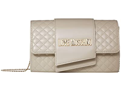 LOVE Moschino Logo Quilted Bag (Ivory Quilted Soft PU) Handbags