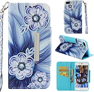 Case for iPhone 7 Plus/8 Plus,Durable PU Leather 3D Printing Wallet Case with Card Slot Inner TPU Bumper with Magnetic Closure & Wrist Strap Compatible with Apple iPhone 7 Plus/8 Plus -Bead Flower