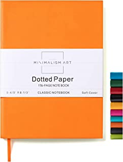 Minimalism Art, Soft Cover Notebook Journal, A5 Size 5.8 X 8.3 inches, Orange, Dotted Grid Page, 176 Pages, Fine PU Leather, Premium Thick Paper-100gsm, Ribbon Bookmark, Designed in San Francisco