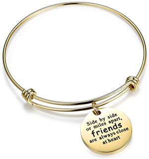 QILMILY You are Braver Than You Believe Stainless Steel Adjustable Charm Bangle Bracelets for Women