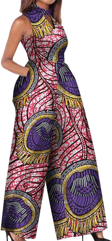 Etecredpow Women Sleeveless Floral Print Pocket Summer Wide Leg Rompers Jumpsuits