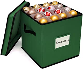 WBHome Christmas Ornament Storage Box with Removable lid, Stores up-to 64 Standard Holiday Ornaments & Xmas Decorations For Seasons To come - 12 x 12 Inch 4 Layer Ornament Storage Container - Green