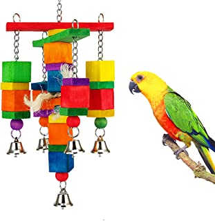 MEWTOGO Natural Wood Bird Chewing Toy- Natural Integral Wooden Stick Tearing Toys Bite Toy with Colorful Beads for Conures, Parakeets, Cockatiels, Lovebirds, African Grey&Small Medium Parrots