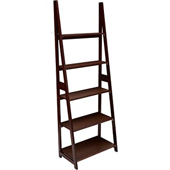 Amazon Com Amazon Basics Modern 5 Tier Ladder Bookshelf Organizer With Solid Rubber Wood Frame Espresso Furniture Decor