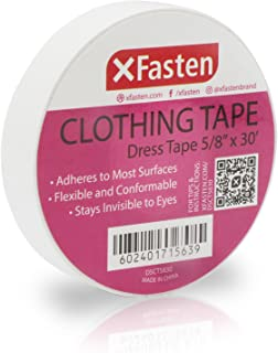 XFasten Clothing Tape Hypo-allergenic, White, 5/8-In x 30-Ft Dress Tape for Fashion