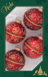 Christmas By Krebs Made in The USA Designer Seamless Gold Glitterlace and Braid Decorated Glass Christmas Ball Ornaments, 2 5/8