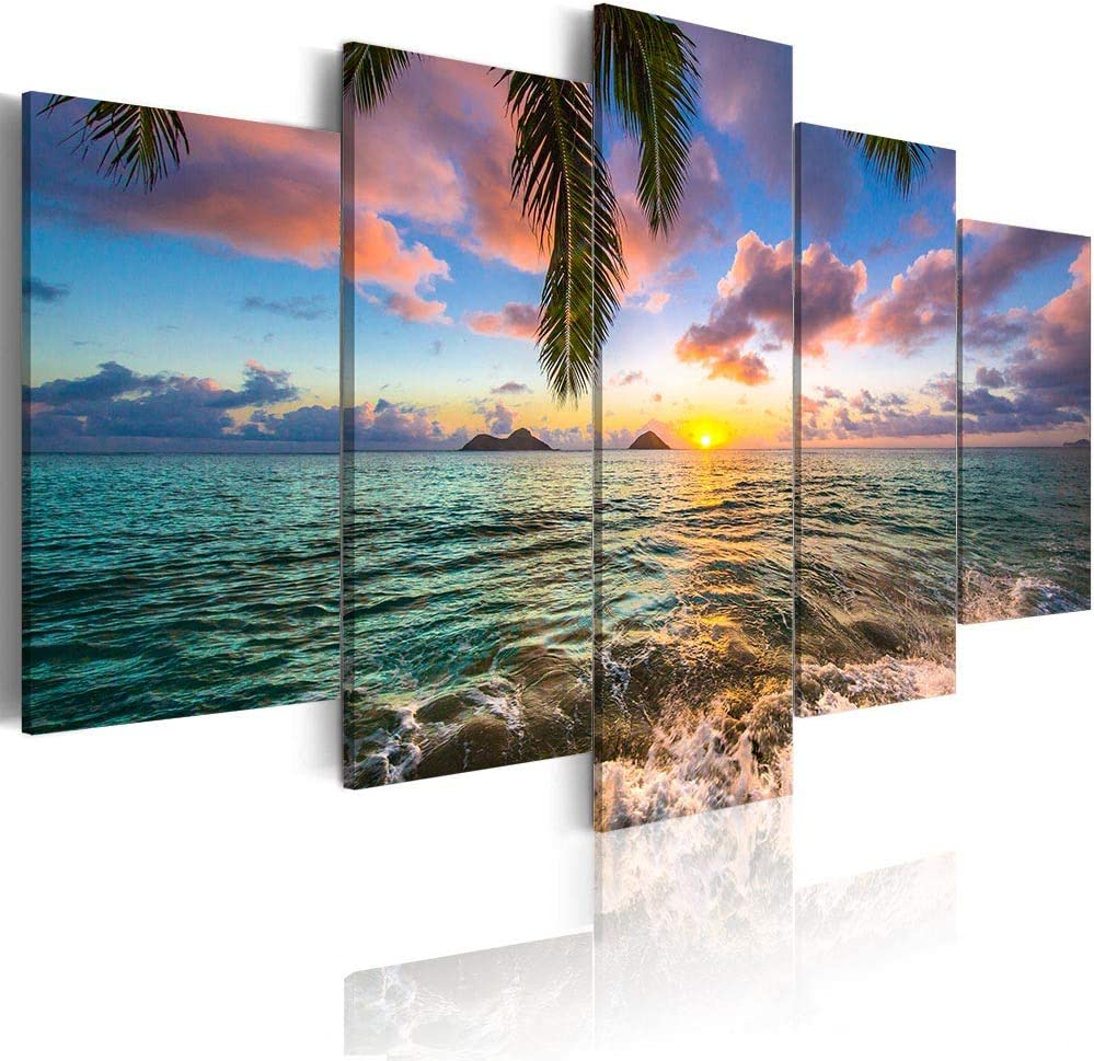 Amazon Com Ocean Beach Wall Art Canvas Print Sea Picture Painting Home Living Room Bedroom Office Decor Sunset Over Size 60inch X 30inch Posters Prints