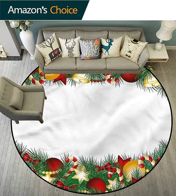 RUGSMAT Christmas Round Area Rug Tree Objects Borders Foam Mat Bedroom Decor Diameter 24