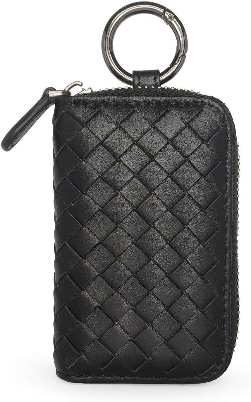 LABEN Genuine Leather Car Key Holder Bag Keychain Case Wallet with 4 Hooks Keyring Zipper Bag