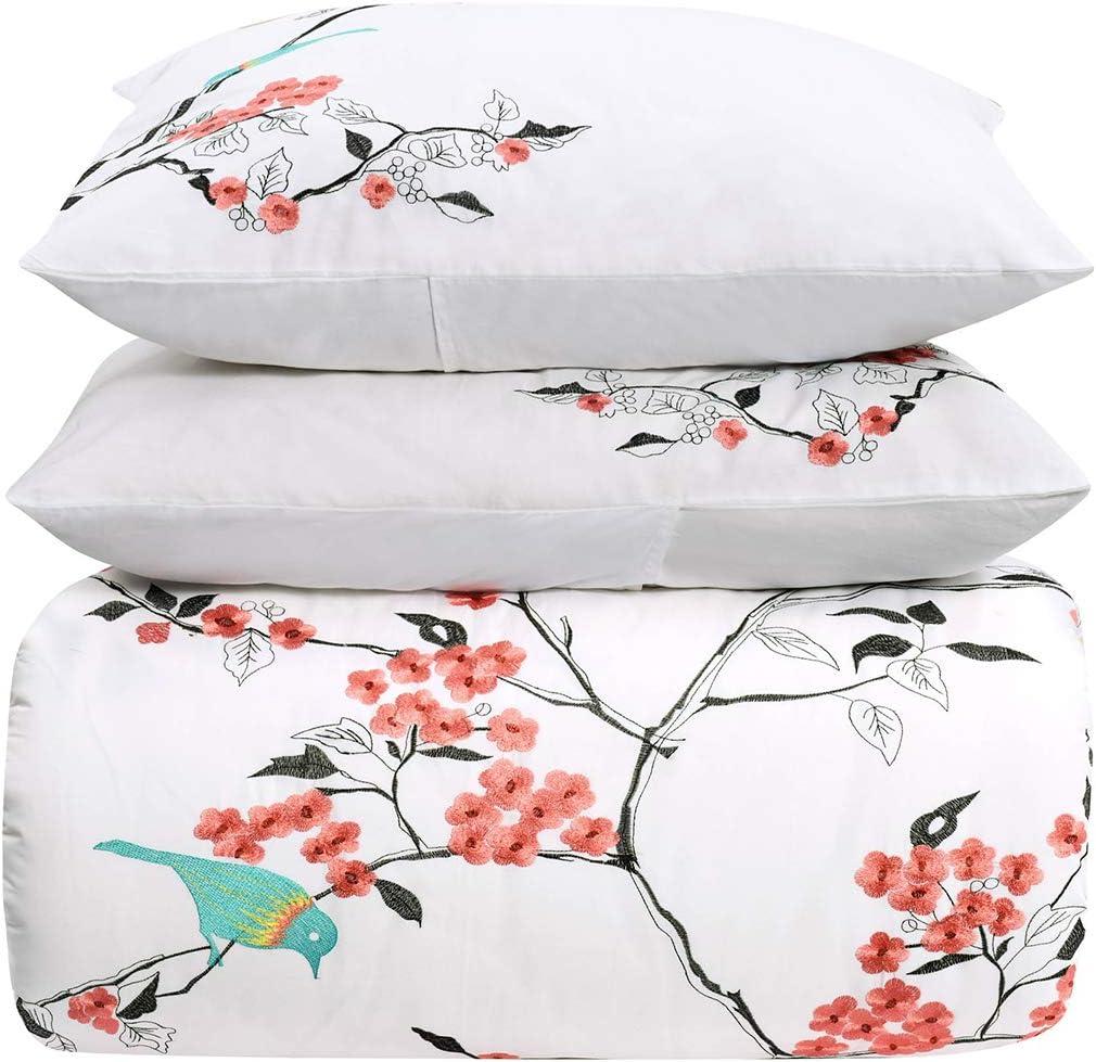 SUPERIOR Cherry Courier shipping free Garden 100% Cotton 3Pc Set Duvet Japan's largest assortment Queen - Full