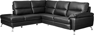 Cortesi Home Contemporary Boston Genuine Leather Sectional Sofa with Left Chaise Lounge, Black