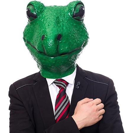 カエルの面 動物仮面 かわず仮面 リアル青蛙お面 コスプレ小物 パーティー仮装 演劇 舞台 動物園 学園祭や文化祭用 アニマル ラテックスお面 绿