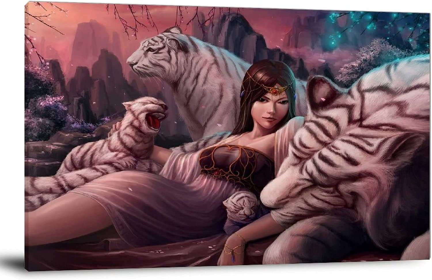 ypf Woman and White Tiger Cub Art Wall Poster Can Surprise price Painting Bargain Print