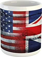Ambesonne Union Jack Mug, Alliance Togetherness Theme Composition of UK and USA Flags Vintage, Ceramic Coffee Mug Cup for Water Tea Drinks, 11 oz, Navy Blue