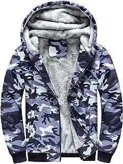 iLUGU Hoodie Mens Hoodie Camouflag Warm Oversized Hoodie Fleece Zipper Sweater Jacket Blouse