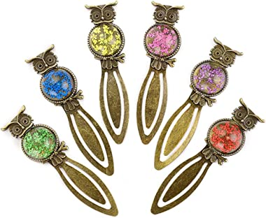 OwnMy 6 Pcs of Metal Bookmark Clip Bookmark Ruler, Bronze Book Mark with Vintage Dried Flower, Bookmark as Book Page Marker f