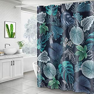 Didihou Leaves Shower Curtain Tropical Plant Print Bathroom Curtain Home Decorations Fabric Machine Washable Privacy Curtain 71
