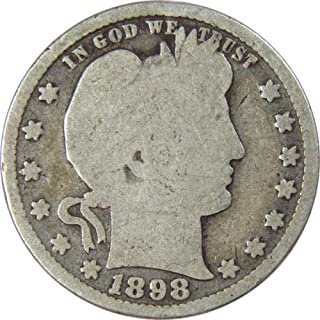 1898 25c Barber Silver Quarter US Coin Genuine