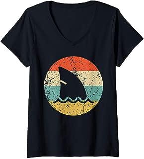 Womens Shark Fin Retro Style Shark V-Neck T-Shirt