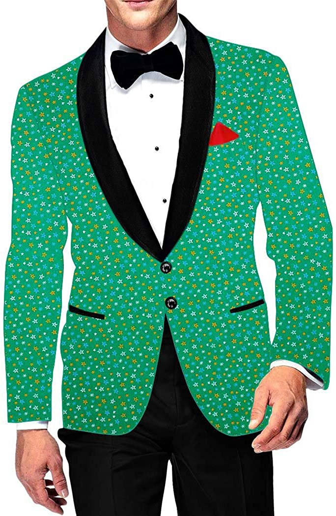 INMONARCH Mens Slim fit Casual Green Cotton Blazer Sport Jacket Coat Bollywood Printed SB17030R54 54 Regular Green