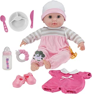 """JC Toys 15"""" Soft Body Baby Doll - Pink 10 Piece Gift Set with Open/Close Eyes- Perfect for Children 2+"""