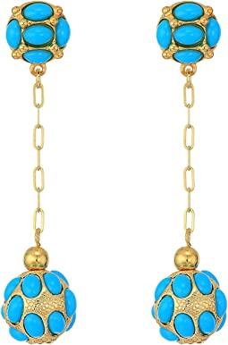 Gold Chain/Turquoise Cabs Top/Drop Ball Pierced Earrings