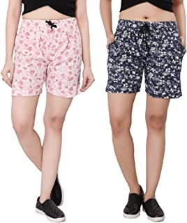 Bfly Women's Printed Cotton Hosiery Shorts-Pack of 2 (WSHORTSCOMBO-1-3)