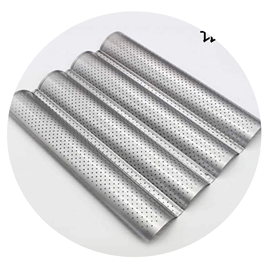 French Bread Baking Mold Bread Wave Baking Tray Practical Cake Baguette Mold Pans 2/3/4 Groove Waves Bread Baking Tools,SilverL