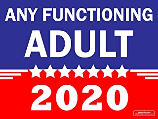 Best VIBE INK Any Functioning Adult 2020 Funny Novelty Bumper Sticker and Yard Sign Double Sided Print Includes 24-inch Metal Wire Stake Review