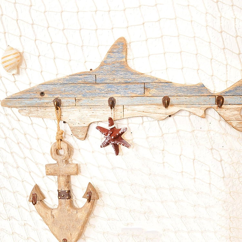 Coat Rack Solid Wood Mediterranean Style, Shark Hand-Decorated Hooks, Wall hangings Bedroom Living Room Locker Key Clothes Hooks Fitting Room Coat Rack Wall Hanging