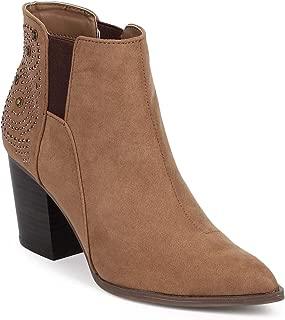 Women Suede Pointy Toe Studded Block Heel Chelsea Bootie DE80 - Taupe