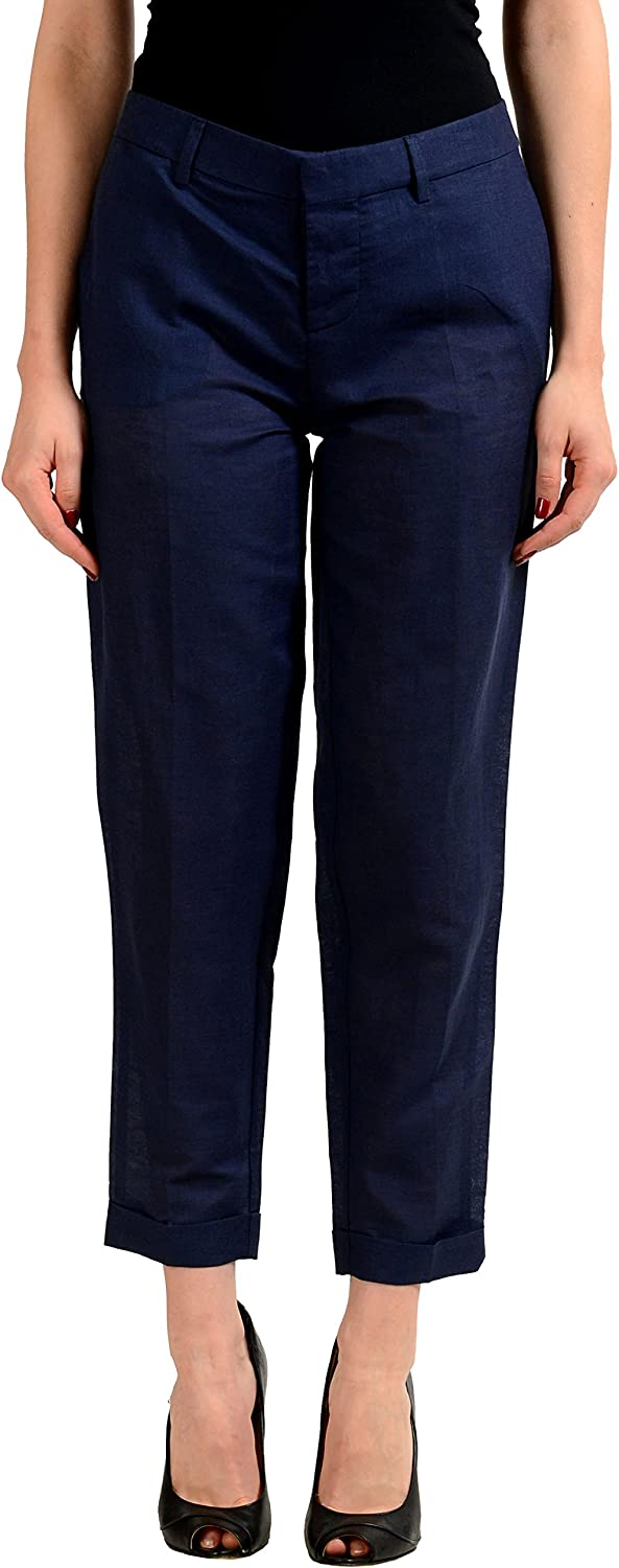 DSQUARED2 Linen Navy Women's Cropped Casual Pants US S IT 40