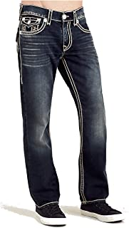 True Religion Mens Straight Leg Relaxed Fit Natural Stitch Jeans in Major Wind