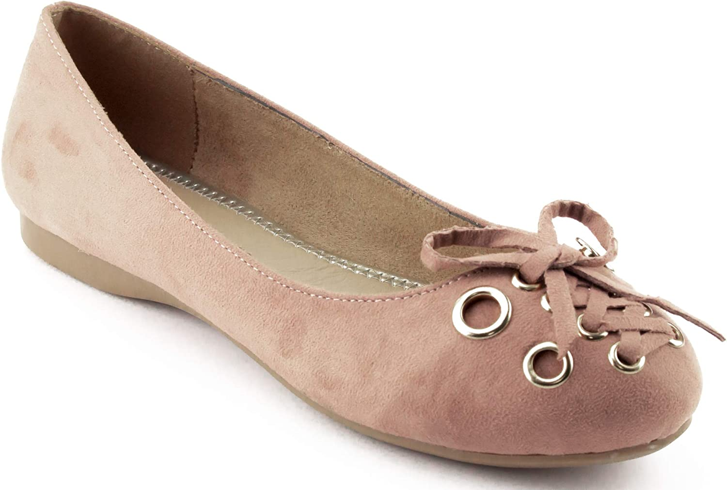 CALICO KIKI Ballet Flats Round-Toe - Comfort Slip On - Faux Suede Bow Tied