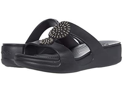 Crocs Monterey Diamante Slip-On Wedge (Black) Women