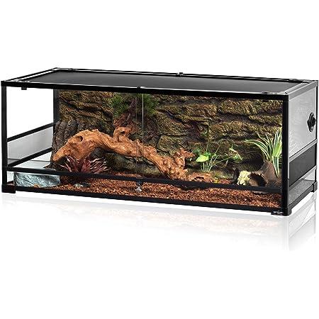 "REPTI ZOO 67Gallon Upgrade Glass Reptile Large Terrarium 48"" x 18"" x 18""(Knock-Down) Reptile Detachable Terrarium Rack Stackable Breeding Rack Combo Project"
