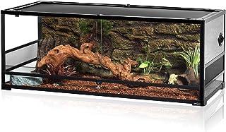 REPTI ZOO 67Gallon Reptile Large Terrarium Upgrade Glass Front Opening Tank Sliding Door with Screen Ventilation Reptile T...