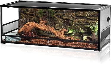 REPTI ZOO Reptile Upgrade Glass Terrarium Sliding Door with Screen Ventilation Reptile Terrarium About 48