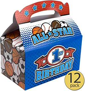 Set of 12 - Boy First Birthday - Boy 1st Birthday - All Star Sports Treat Box - All Star Sports Party Supplies - Bulk Pack