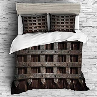 All Season Flannel Bedding Duvet Covers Sets for Girl Boy Kids 4 Pcs (Double Size) Medieval,Medieval Wooden Castle Wall and Metal Gate Greek Style Mid Century Design Art Print,Grey