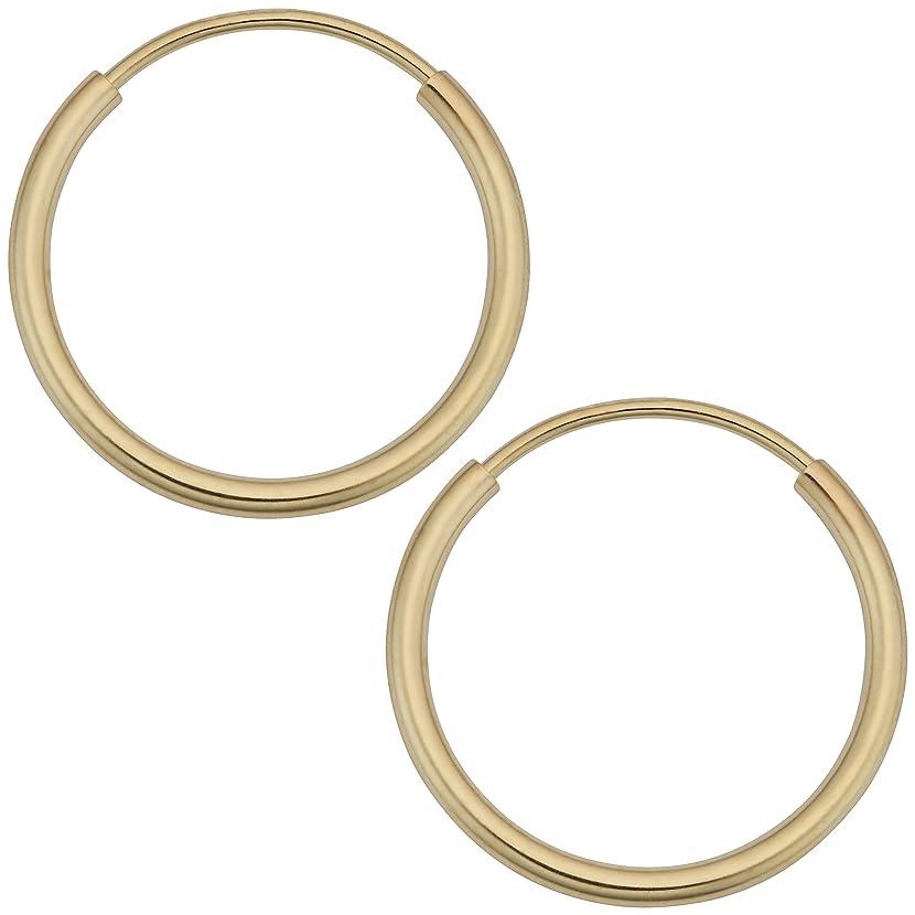 Kooljewelry 14k Yellow Gold 1 mm Round Tube Endless Hoop Earrings (10, 12, 14, 16 or 18 mm)